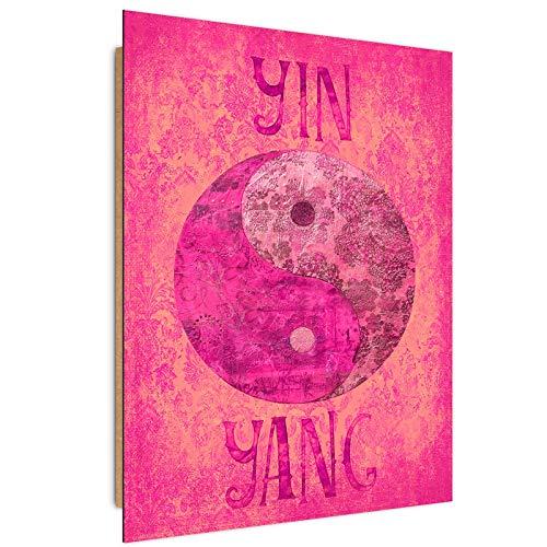 Tableau yin yang Déco Imprimé Moderne Oriental rouge 40x60 c