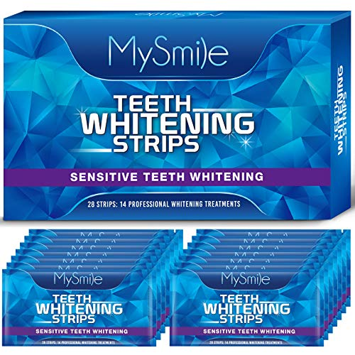 MySmile Teeth Whitening Strips, 28 White Strips Teeth Whitening Kit, Non-Sensitive 14 Sets Teeth Whitener for Tooth Whitening, Helps to Remove Smoking Coffee Soda Wine Stain, Up to 10 Shades Whiter
