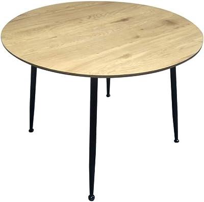 ZONS BADUS Table à Manger Ronde Empiètement en Métal, Bois et Noir,