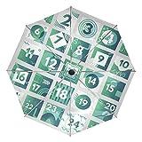 Paraguas de Viaje con diseño de Calendario de adviento Abstracto de Navidad, Plegable, Reversible, Resistente al Viento, protección UV, Mango ergonómico, Apertura automática, Color Verde