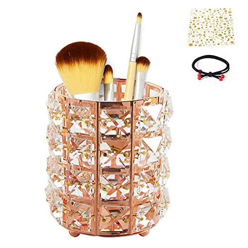 Qualsen organizador de brochas maquillaje , Cristal Bling Cosmético Almacenamiento Vela Taza Lápiz Pluma Contenedor Velas, Oro rosa