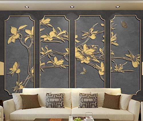 Adesivo de parede 3D para decoração de parede de TV com alívio dourado, linha de flores de magnólia, adesivos de parede modernos para decoração de quarto