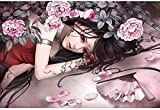 Tangram Cherry Blossom Tattoo Character Puzzle 1000 Rompecabezas de madera HD Print Poster Collection Jigsaw Puzzle Adult Home Jigsaw Game Descompresión Juguetes educativos