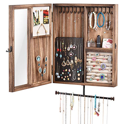 Keebofly Wall Mounted Jewelry Organizer with Rustic Wood Large Space Jewelry Cabinet Holder for Necklaces, Earrings, Bracelets, Ring Holder, and Accessories (Carbonized Black)