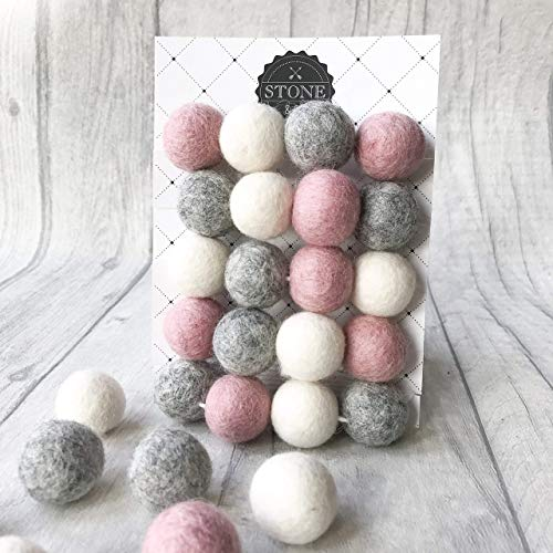 Felt Ball Pom Pom Garland from Stone and Co in Dusty Pink and Natural Grey