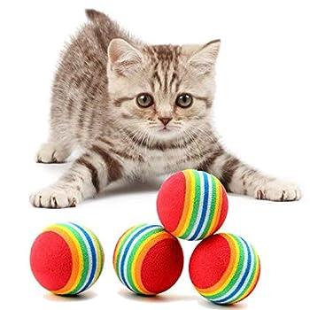 Nincee Little Paws Lot de 10 jouets en fourrure pour chat avec souris et 2 balles arc-en-ciel en mousse souple