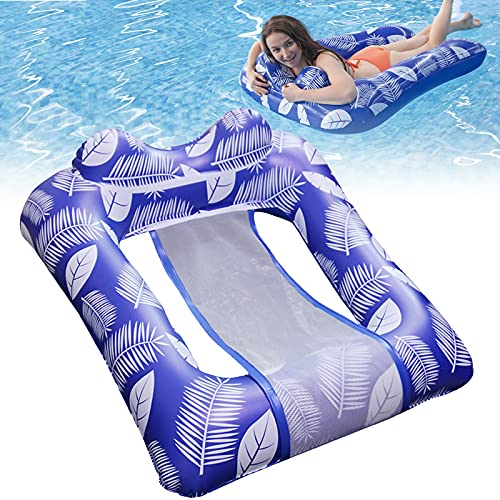 Pekelin Luftmatratze Pool Erwachsene, Pool Hängematte mit Mesh Wasserhängematte Erwachsene Pool Floating Lounge Wasser Liege Schwimmliege für Erwachsene (110 x 76cm)