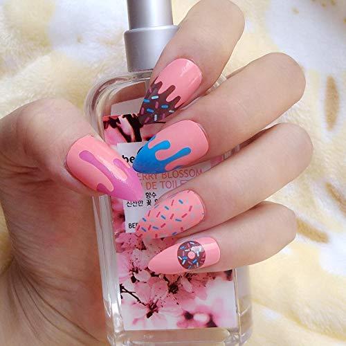 DCJ® Falsche Nägel 24 Stück Pink Nails Sweet Donut Kurze Falsche Nägel DIY Acryl Falsche Nagelspitzen Nagelprodukte