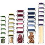 Brogtorl 30 pcs Mason Jar Bottles Bags, Reusable Zipper Airtight Seal Food Storage Bags, Leakproof Food Saver Bags for Travel Camping Picnic(5 Colors)