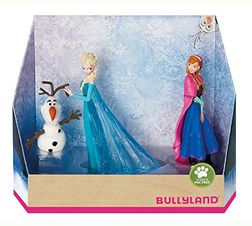 Bullyland 13446 - Spielfigurenset, Walt Disney Die Eiskönigin - Elsa, Anna und Olaf, liebevoll handbemalte Figuren, PVC-frei, tolles Geschenk für Jungen und Mädchen zum fantasievollen Spielen