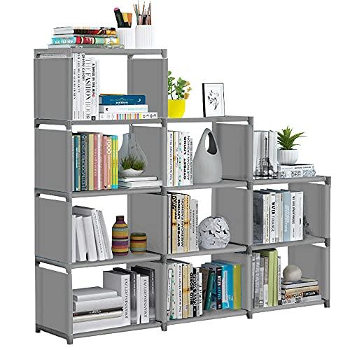 VOJUEAR Cube Storage DIY 9-Cubes Closet Storage Bookcase Organizer Shelving Bookshelf Clothes Storage for Home,Office,Bedroom,Home Furniture Storage (Grey)