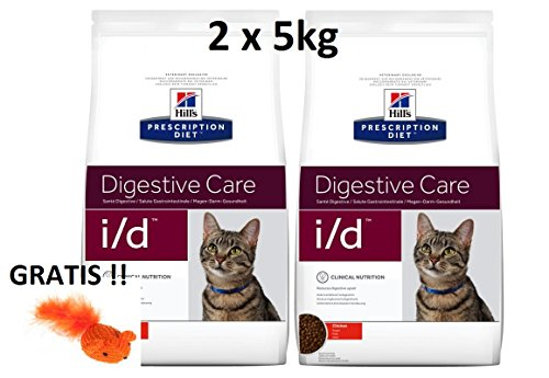 Hill's Prescription Diet Feline i/d Digestive Care: 2 x 5kg Veterinary Diets + GRATIS Mouse