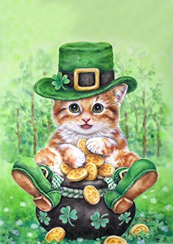 Toland Home Garden Clover Kitty 12.5 x 18 Inch Decorative Cute Tabby Cat Leprechaun Gold Shamrock St Patrick's Day Garden Flag - 1110806