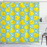 Ambesonne Nursery Shower Curtain, Happy Rubber Duck and Bubbles Cartoon Pattern Childhood Kids Theme Art, Cloth Fabric Bathroom Decor Set with Hooks, 70' Long, Yellow Aqua