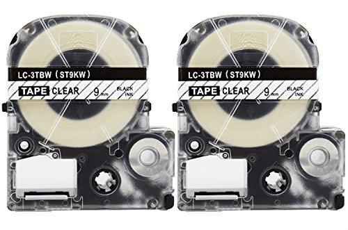 2-Pack Compatible LC-3TBN9(LK-3TBN9) Label Tape for Labelworks Label Tape Cartridge LW-300 LW-400 LW-600P,9MM(0.35 inch) X26.2ft,Black on Clear