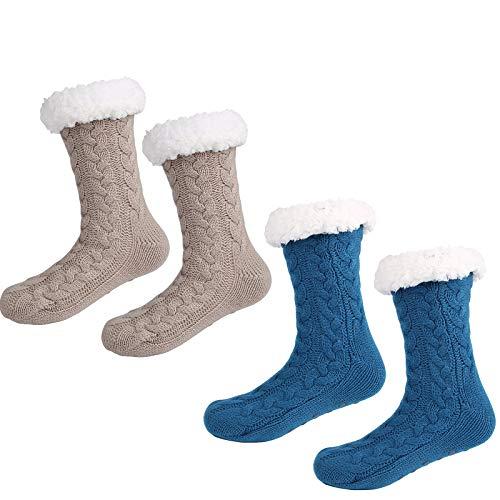 2 Pares de Calcetines CáLidos de Invierno para Mujer y Hombre CóModos Suaves Gruesos Pantuflas Calcetines con Fondo ABS Antideslizante (Azul + beige)