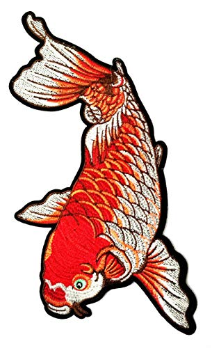 Nipitshop Patches Size Big Beautiful Red Japanese koi carp Fish Tattoo Japan Love Embroidered Applique Iron-on Patch for Jacket T Shirt Patch Sew Iron on Embroidered Symbol Badge Cloth Sign Costume