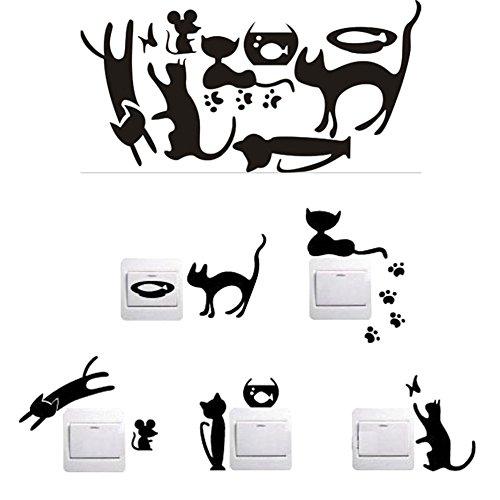 Demarkt - Pegatina para Interruptor de luz, diseño de Gato y pez