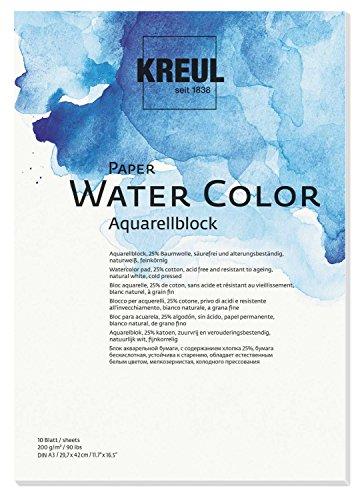 Kreul 69012 - Paper Water Color, Aquarellblock, DIN A3, 200 g/m, 10 Blatt, säurefrei und alterungsbeständig, naturweiß, für Malerei mit Aquarell- und Gouachefarben