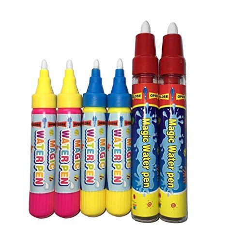 HEALLILY 6pcs Magie Ersatz Wasser Stift Zeichenstift Aqua Doodle Stifte für Kinder Wasser Doodle Zeichenmatte und Bücher