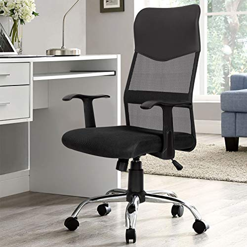 High Back Ergonomic Executive Office Chair,Upgraded Leather Thick Cushion Swivel Big and Tall Home Computer Chair with Armrests,Black