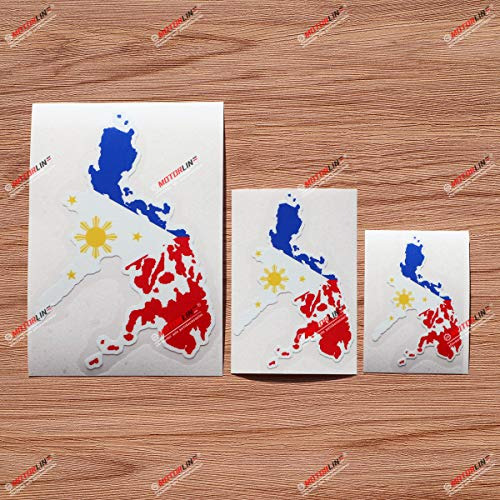Philippines Map Eight-Ray Sun Stars Flag Colors Filipino Vinyl Decal Sticker - 3 Pack Glossy, 3 Inches, 4 Inches, 6 Inches - for Car Boat Laptop Cup