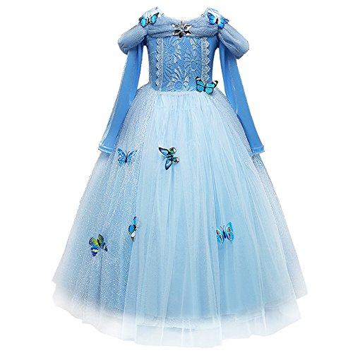 FYMNSI Disfraz Cenicienta Nia Cinderella Dress Carnaval Disfraces Traje de Princesa Azul con Mariposas Vestido Largo para Navidad Halloween Cosplay Fiesta Cumpleaos Chicas 4-5 Aos