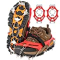 Drogeai ice Cleats ?red-XL? Snow Grips with 19 Spikes for Walking Anti Slip Walk Traction Cleats, Snow Ice Grippers Spikes and Grips,Hiking Climbing Fishing Mountaineering Walking