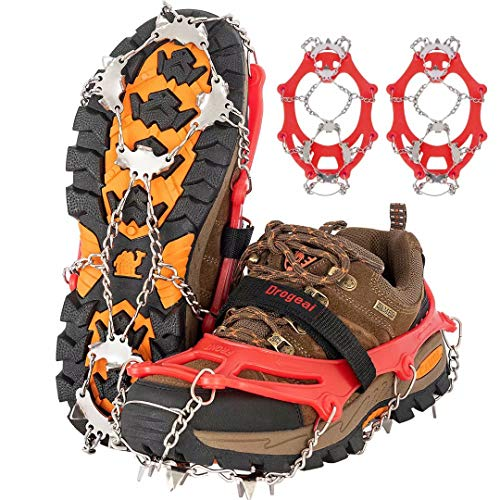 Drogeai ice Cleats (redM) Snow Grips with 19 Spikes for Walking Anti Slip Walk Traction Cleats Snow Ice Grippers Spikes and GripsHiking Climbing Fishing Mountaineering Walking