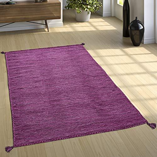 Paco Home Designer Teppich Webteppich Kelim Handgewebt 100% Baumwolle Modern Meliert Lila, Grösse:80x150 cm