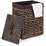 Best Choice Products Woven Water Hyacinth Wicker Portable Decorative Laundry Clothes Hamper Basket for Bedroom, Bathroom, Laundry Room w/Removable Liner Bag, Lid, Espresso