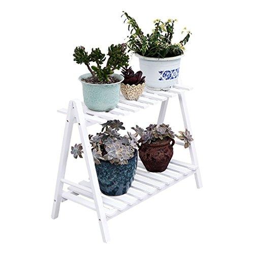 HJ support à fleurs Yxsd Pots de Jardin 2 étagères de Rangement en étagère de Fleur en Bois en Couches, Utilisation intérieure et extérieure (Size : 50cm)
