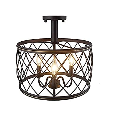 """15.7"""" Iron Frame Drum Shade Openwork Wired Cage Flush Mount Ceiling Light Fixture"""