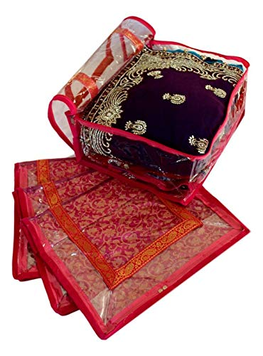 Mehek - Set di 5 grandi sacchetti per riporre vestiti, per riporre abiti Saree Lengha, organizer per guardaroba, confezione regalo di nozze indiana, colore: Rosa