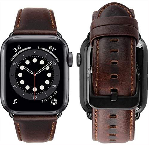 MroTech Cinturino Compatibile con Apple Watch Cinturino 44 mm 42 mm Banda Pelle di Ricambio per iWatch SE/Series 6/Serie 5/4/3/2/1 Sostituzione Bracciale Fibbia Nera Cinghie 44MM/42MM-Classic Caffè
