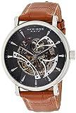 Akribos XXIV Skeleton Men's Watch – Crocodile Embossed Brown Genuine Leather Strap – Automatic Mechanical Wristwatch See Through Dial – AK1020SSBR