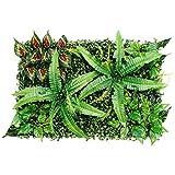 Générique Haie Artificielle Verte réaliste pour clôture de Jardin - 60 x 40 cm - Décoration Murale et Sol - Grandes Feuilles