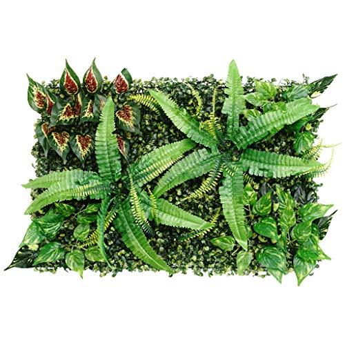 Unbekannt Realistische grüne Pflanzpaneele künstlicher Hecke Zaun-Sichtschutz Rasen (59,9 x 39,9 cm) für Innen und Außenbereich, Wand- und Bodendekoration – große Blätter
