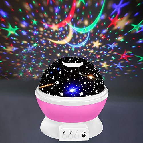 CICIBER Proyector de cielo estrellado, luz nocturna LED, rotación de 360°, con 8 luces de colores, lámpara para niños, para bebés, habitación de los niños, Navidad, fiesta, color rosa