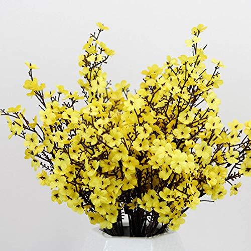 haotong11 5 Unids Seda Blanca Flor De Cerezo Flor Artificial Ramo De Flores Falsas DecoracióN De La Sala De Bodas Babysbreath Al por Mayor Amarillo