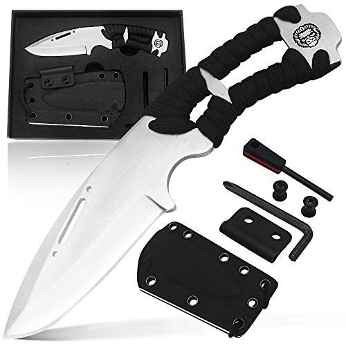 Survival Knife Gift Set - Damascus Steel Knife with Fire Starter, K-Sheath, 550 Paracord, Knife Sharpener to Wear Around The Neck - Convenient Practical Gift Idea for Hunters, Campers, and Preppers