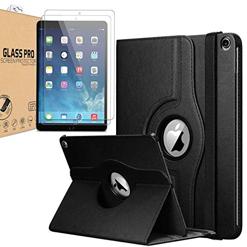 """[Bundle] Leather Rotating Case For iPad Air / Air 2 / iPad Pro 9.7 / iPad 9.7"""" 2017 / iPad 9.7"""" 2018 (5th Gen, 6th Gen) 360 Degree Smart Flip Stand Case Cover with FREE [2 Pack] Tempered Glass (Black)"""