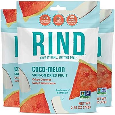RIND Snacks Coco-Melon Dried Skin-On Superfruit Snack, Coconut, Watermelon, Cantaloupe, High Fiber, Sulfite-Free, Antioxidants, 3oz 3 Pack