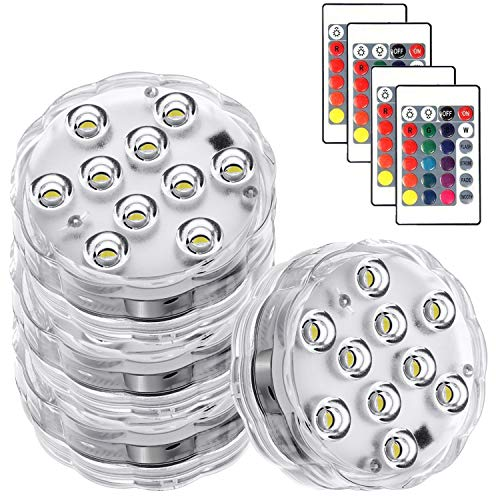 Submersible Led Lights - Waterproof Underwater Lights with IR Remote,16 Color Changing Battery Operated Tea Lights for Pumpkins,Hot Tub,Aquarium,Pool,Wedding,Christmas Party and Halloween Decor 4pack…