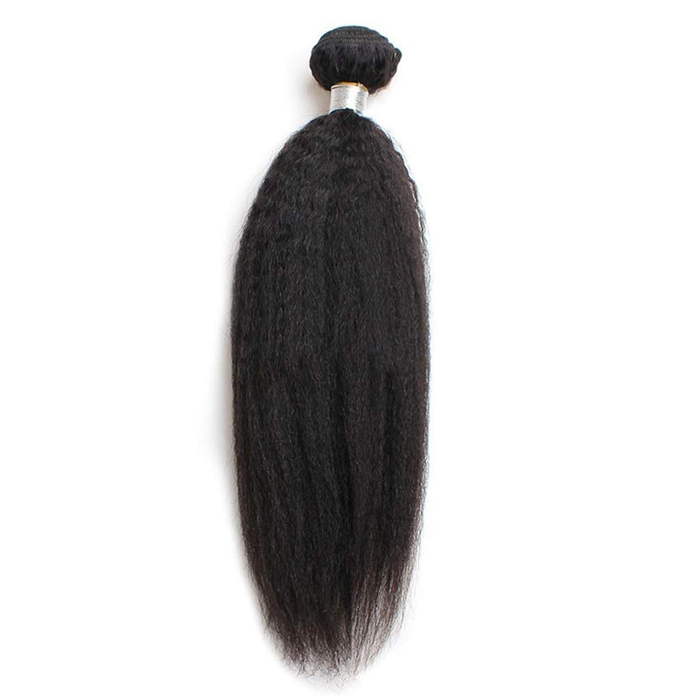 人間植物の不足HOHYLLYA 9Aブラジル焼きストレートバンドル人間の髪の毛100%レミーの髪織りロールプレイングかつら女性のかつら (色 : 黒, サイズ : 16 inch)