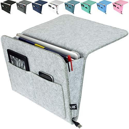 "Lib Bedside Caddy, Original Design | Large Size 9.5"" x 13.5"" | Laptop Holder | 100% Handmade | College Room, Kids Bunk Bed, Hospital Bed | Night Hanging Storage Organizer (Light gray)"
