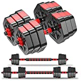 Weights Dumbbells Set - Adjustable Dumbbells for Weight Lifting Training - Weights Dumbbell Set for Men and Women - Barbell Weight Set with Connecting Rod - Safe & Stable Free Weights Up to 44lbs