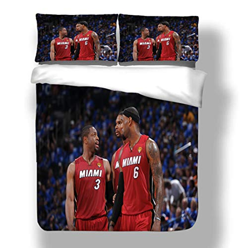 Zozun Duvet Cover Set Dywane Miami Basketball Player 3 Bedding Flash Wade Heat Super Star Three-Point Line First Round Quilt Coverlet with 2 Pillow Shams Cleveland Chicago Cavaliers Bulls