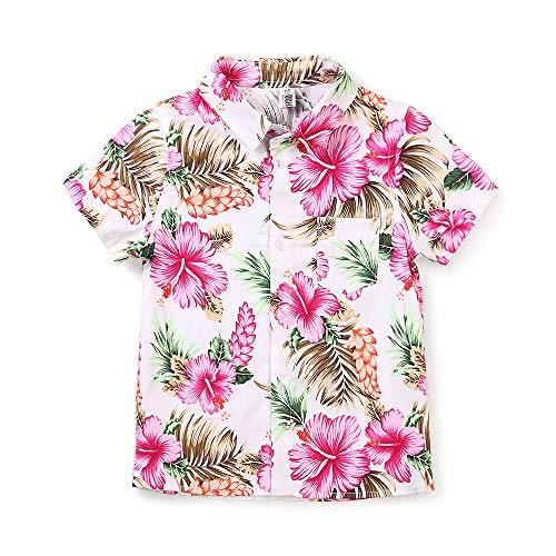 Camisa hawaiana de manga corta con botones de flamencos rosa para niño grande