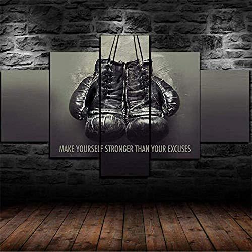 SZQY Gemälde 5 Panel Leinwanddrucke Hd Wandkunst Gemälde Bild Poster Wandbilder Drucken Für Wohnkultur 150×80Cm/ Schwergewichts-Boxhandschuhe Muhammad Ali
